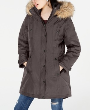 Madden-Girl Juniors' Hooded Faux-Fur-Trim Parka