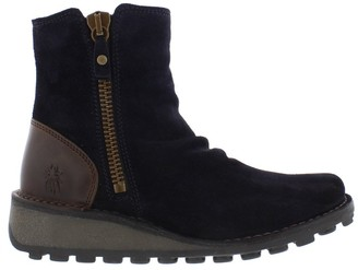 Fly London Mon In Navy Suede Boots - 38 | navy | suede leather - Navy