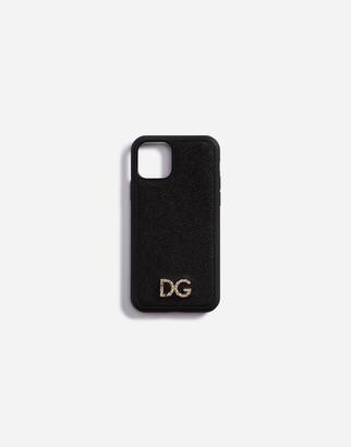 Dolce & Gabbana Dauphine Calfskin Iphone 11 Pro Cover With Rhinestone Logo