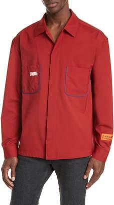 Heron Preston CTNMB Piped Button-Up Wool Blend Worker Shirt