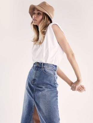 Forever New Lydia Midi Denim Skirt - Mid Wash - 10