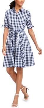 Calvin Klein Gingham Tie-Waist Shirtdress