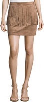 philosophy Mini Fringed Faux-Suede Skirt, Camel