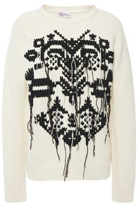 RED Valentino Frayed Embroidered Wool Sweater