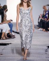 Michael Kors Metallic Leaf-Embroidered Cami Dress