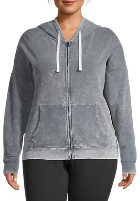 Betsey Johnson Plus Stretch-Cotton Hooded Jacket