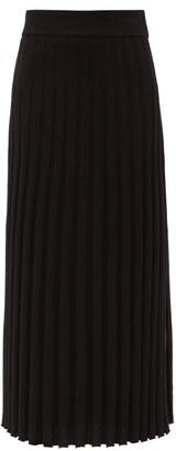 Joseph Polo Side-slit Rib-knitted Maxi Skirt - Black