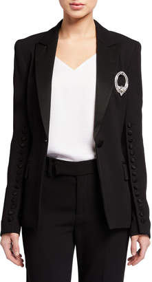 Escada Button-Trim Peak Lapel Tuxedo