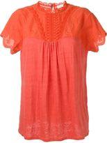 Vanessa Bruno crochet detail T-shirt - women - Cotton/Linen/Flax/Polyester - 36