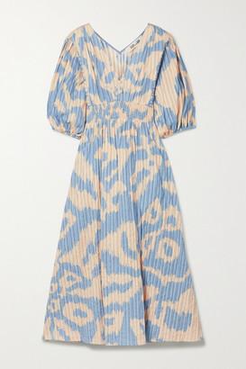 Diane von Furstenberg - Freda Leopard-print Cotton-jacquard Midi Dress - Blue