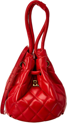 Balenciaga B Small Quilted Leather Bucket Bag