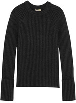 Michael Kors Ribbed Cashmere-blend Sweater - Gray