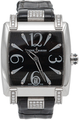 Ulysse Nardin Black Caprice Diamond Dial & Bezel Stainless Steel Automatic Watch 35MM