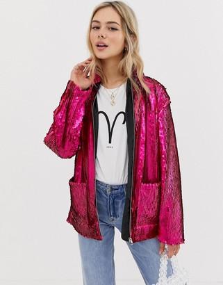 Asos Design DESIGN Sequin Jacket-Pink