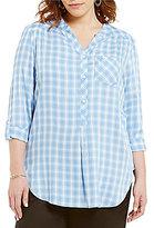 Intro Plus Plaid Y-Neck Shirttail Hem Top