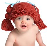 Melondipity Baby Hats Melondipity's Headed Baby Doll Hat with Fringe Bangs, Pigtails and Blue Ribbon Bows (0-6 months)