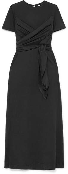 Brunello Cucinelli Belted Draped Silk-satin And Cotton-jersey Maxi Dress - Black