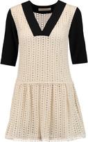 See by Chloe Crepe-paneled crocheted cotton mini dress