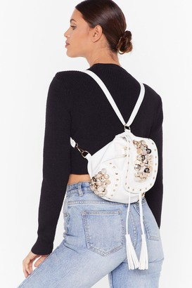 Nasty Gal Womens WANT Button Our Way Faux Leather Backpack - white - One Size