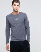 Emporio Armani Slim Fit Long Sleeve Top In Grey