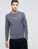 Emporio Armani Slim Fit Long Sleeve Top In Navy