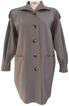 Saint Laurent Grey Cotton Trench Coat for Women Vintage