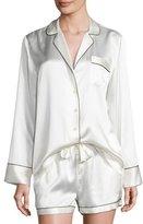 Neiman Marcus Silk Shortie Pajama Set, Ivory