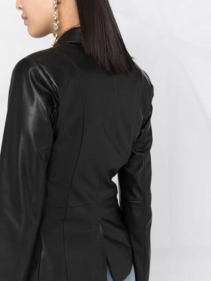 Liu Jo Faux Leather Tie-Waist Blazer
