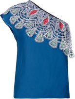 Peter Pilotto embroidered one shoulder top