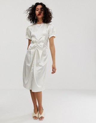 Asos satin ruched midi dress