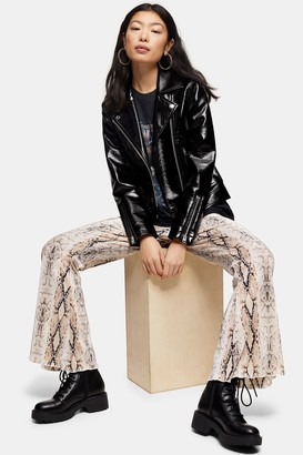 Topshop Womens Petite Beige Snake Print Plisse Trousers - Beige