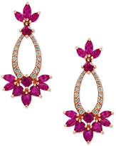 Effy Amoré by Certified Ruby (3-3/4 ct. t.w.) and Diamond (1/3 ct. t.w.) Drop Earrings in 14k Rose Gold