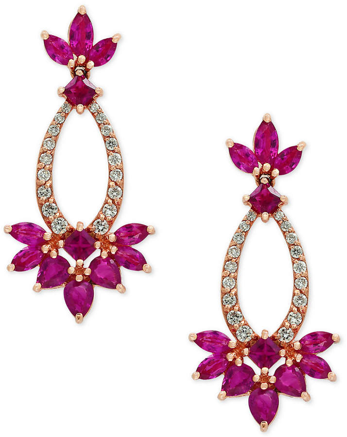 Effy Amore by Certified Ruby (3-3/4 ct. t.w.) and Diamond (1/3 ct. t.w.) Drop Earrings in 14k Rose Gold