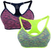 Yolev Sports Bra Double Layer Seamless Workout and Gym Racerback Yoga Bra