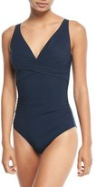 Jets Deep-V Cross-Front One-Piece Swimsuit (D/DD Cup)