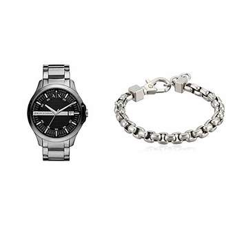 Armani Exchange Men's AX2103 Silver Watch with Stainless Steel Chain Bracelet