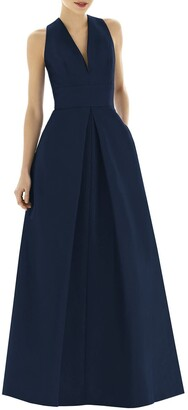 Alfred Sung Dupioni Pleat A-Line Gown