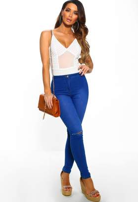 Pink Boutique For Every Occasion Blue Rip Knee Skinny Jeggings