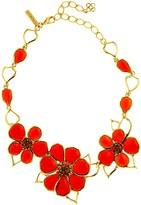 Oscar de la Renta Resin & Crystal Flower Necklace