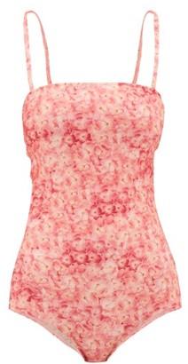 Adriana Degreas Hydrangea-print Straight-neck Swimsuit - Womens - Pink Print