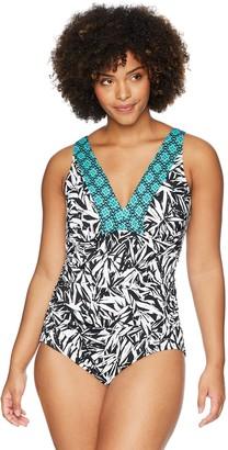 Coastal Blue Women's Plus Size Control Swimwear V-Neck One Piece Swimsuit