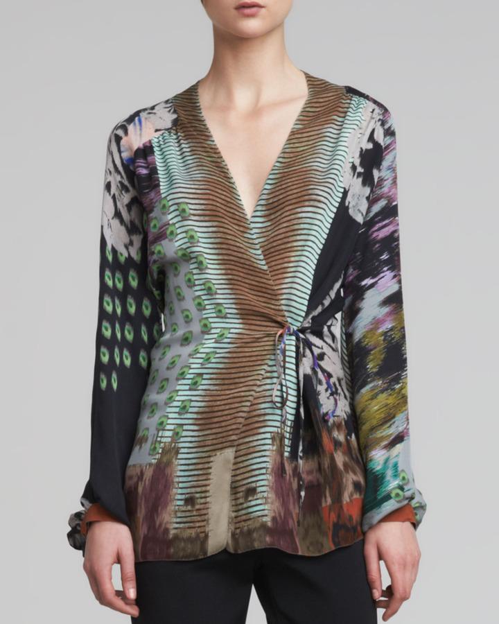 Etro Printed Chiffon Wrap Blouse, Multicolor