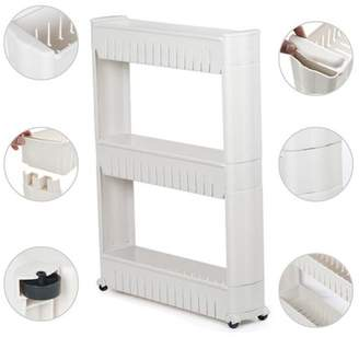 Easyfashion 3 Tiers Mobile Shelving Unit Slim Slide-Out Storage Tower Pull out Pantry Shelves Cart for Kitchen Bathroom Bedroom Laundry Room Narrow Places on Wheels White