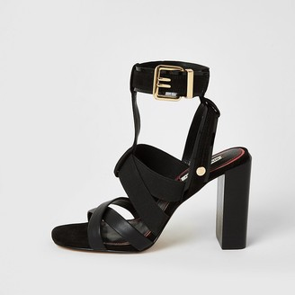 River Island Black elasticated strap block heel sandals