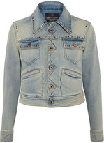 Roberto Cavalli Embroidered Studded Denim Jacket - Mid denim
