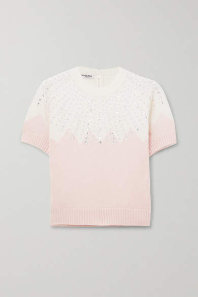 Miu Miu Cropped Embellished Two-tone Cashmere Sweater - Pink