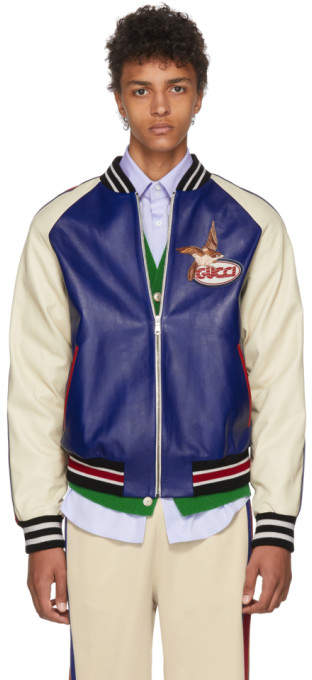 Gucci Blue and Beige Leather Bomber Jacket