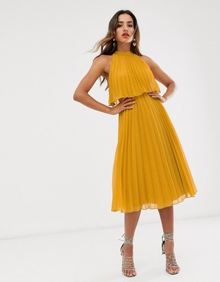 ASOS DESIGN halter tie neck midi dress in pleat