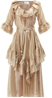 Lisa Marie Fernandez Laura Ruffled Metallic Midi Dress - Womens - Gold