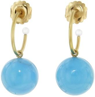 Irene Neuwirth 16mm Turquoise Gumball Hoop Yellow Gold Drop Earrings